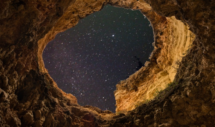 Space, Cave, Sky, hole, night