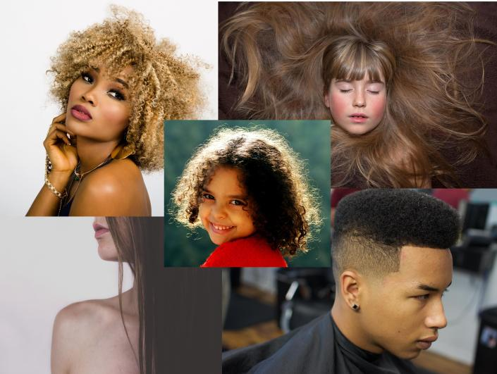 afro, curly hair, wavy hair, straight hair