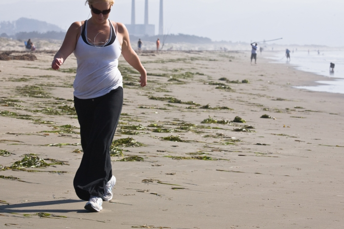 beach, aerobic walking, cardiovascular exercise