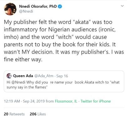 Nnedi Okorafor tweet